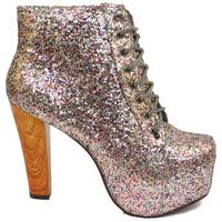 View Item LADIES MULTI GLITTER LACE-UP PLATFORM HIGH BLOCK-HEEL ANKLE BOOTS SHOES SIZE 3-8